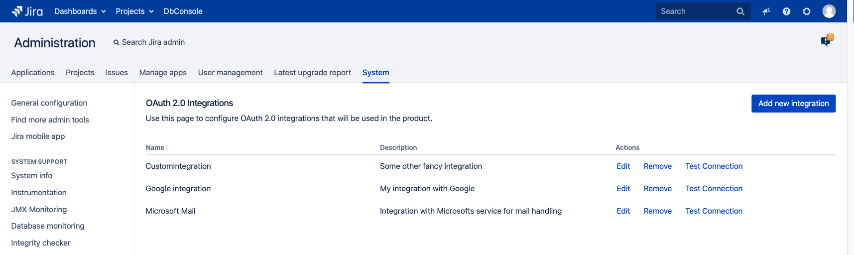 OAuth 2.0 integrations page in the Jira administration console.