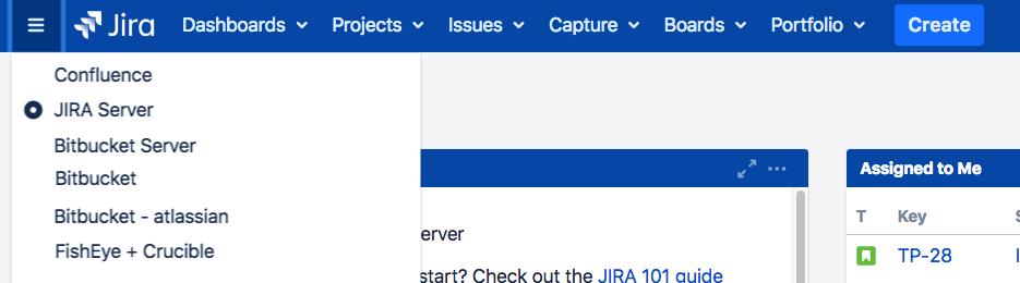Jira アプリケーション ナビゲーター。