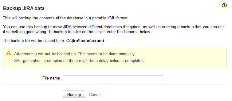 Backup System page in the Jira admin console.