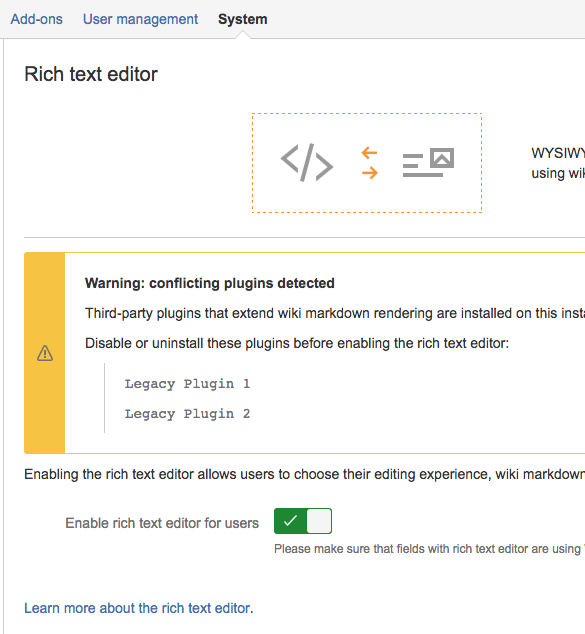 Rich text editor configuration page.