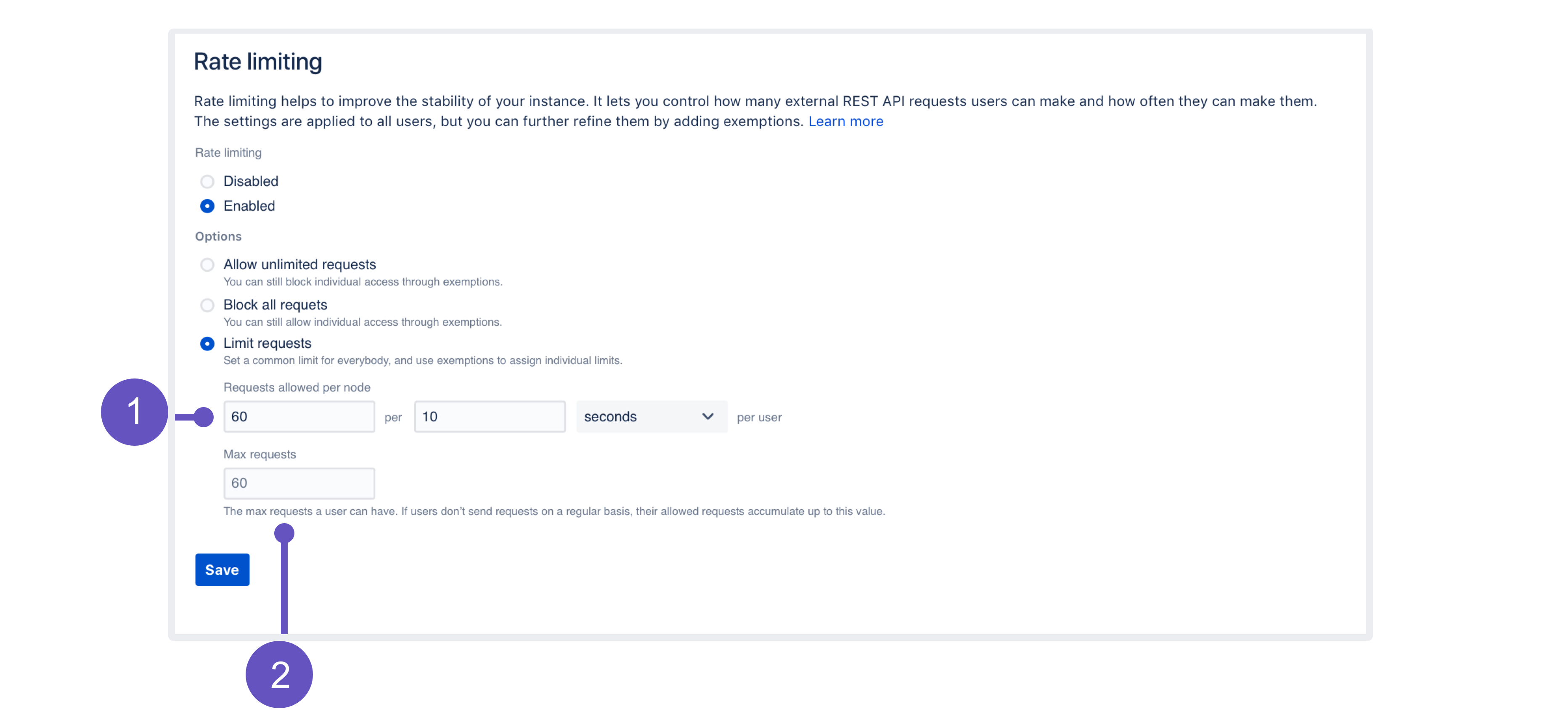 Rate limiting page in the Jira admin console, with annotations explained below the image.