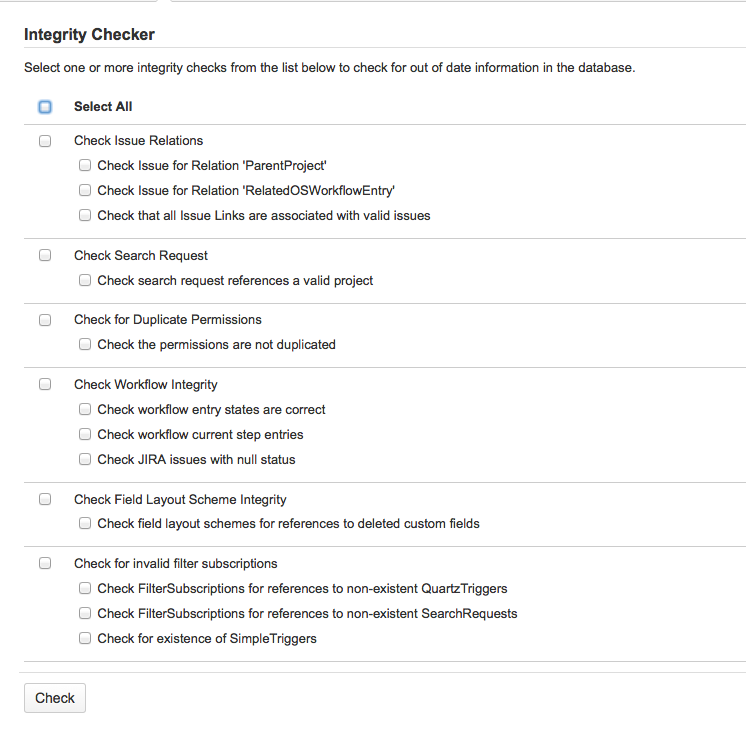Using the database integrity checker - Atlassian Documentation