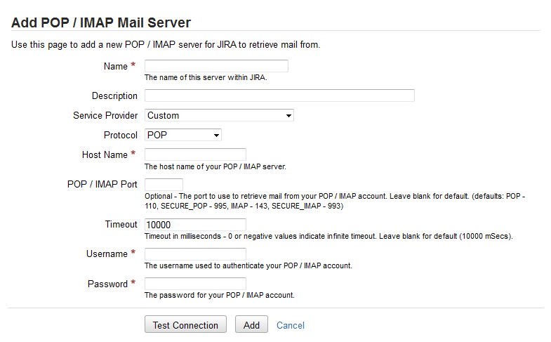 Configuring JIRA applications to receive email from a POP or IMAP