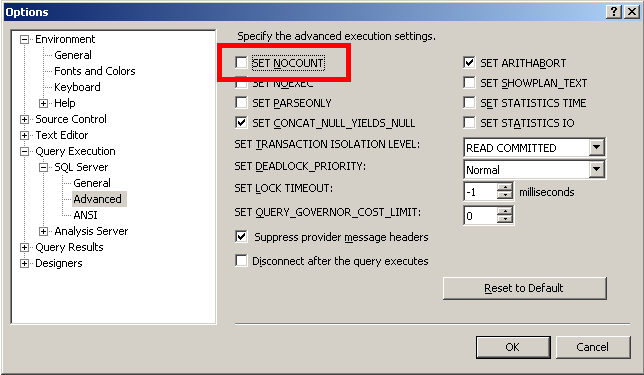 Connecting jira applications to sql server 2012 atlassian go to tools options query execution sql server advanced and clear the set nocount check box ccuart Choice Image