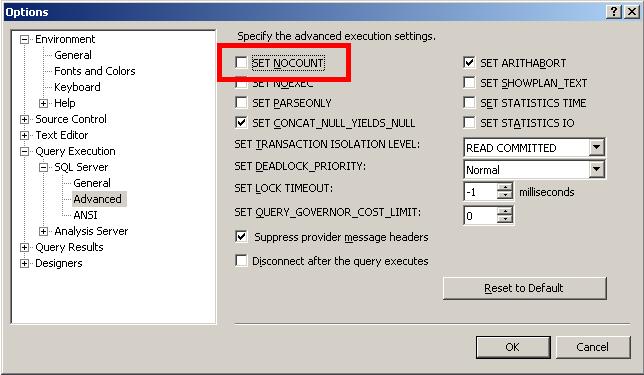 SQL Server Management Studio の [SET NOCOUNT] オプション。