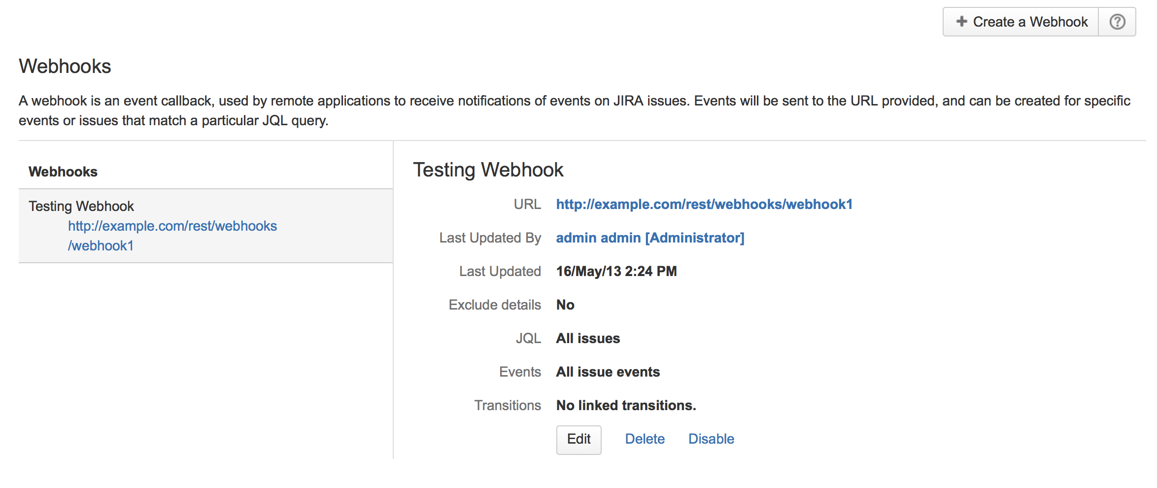 Webhooks displayed in the Jira administration console.