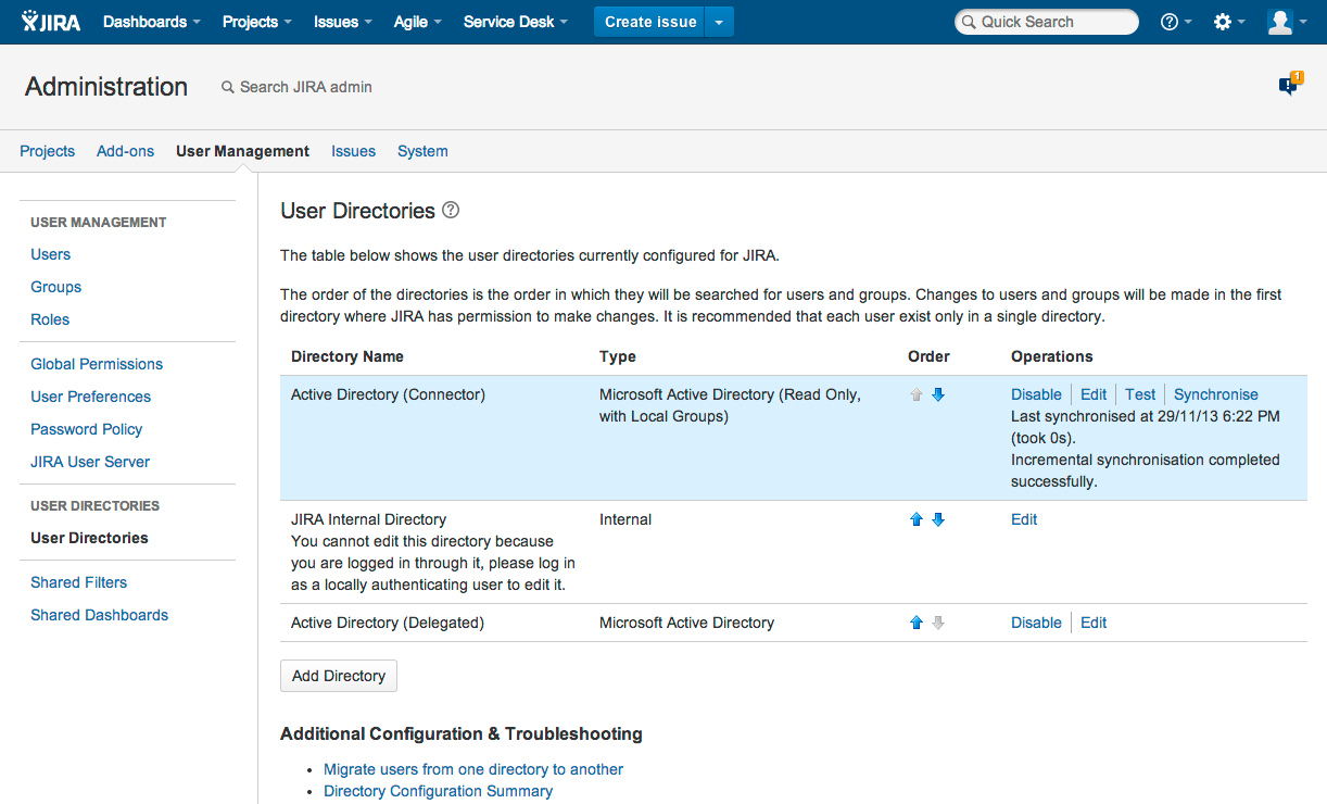 User directories in Jira administration console.