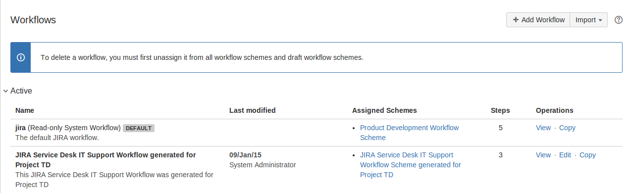 Workflows page in Jira administration console.