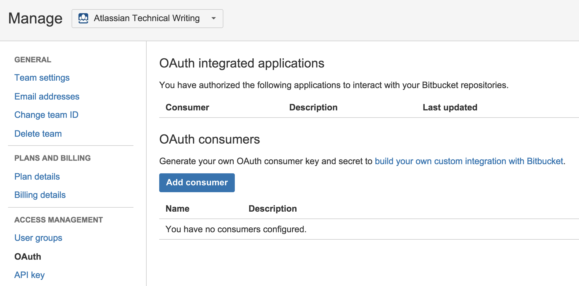 [OAuth integrated applications] ページ。