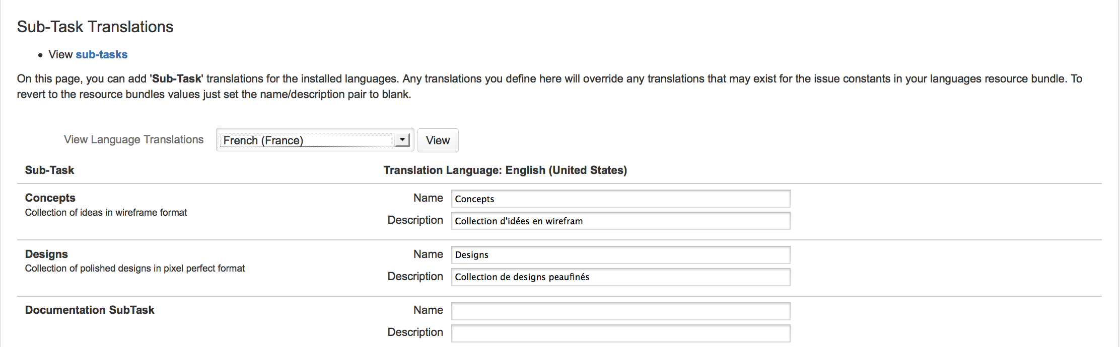 Providing custom translations.