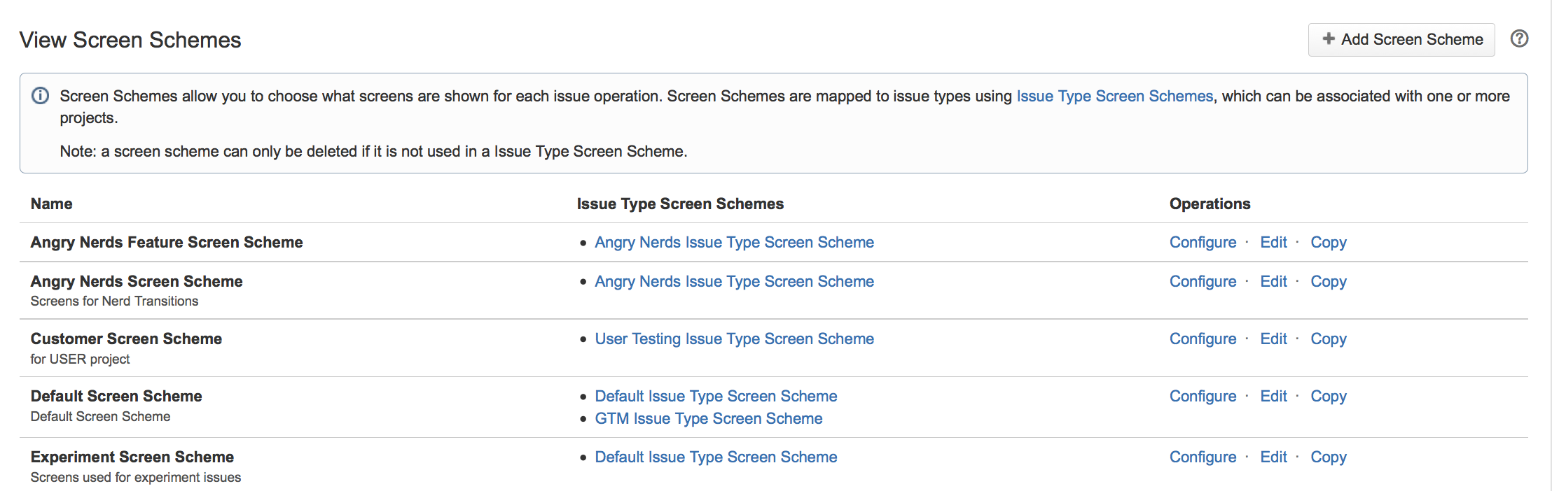 List of screen schemes.