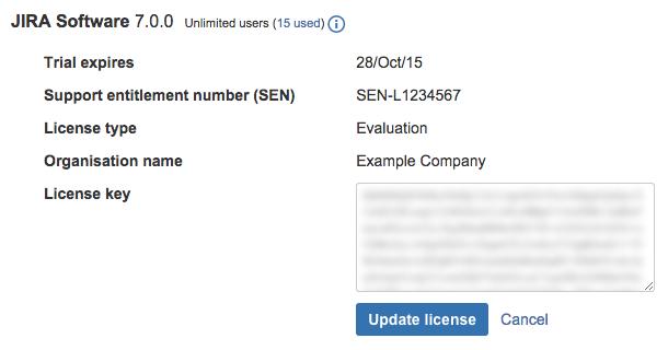 Jira Software ライセンスの詳細。