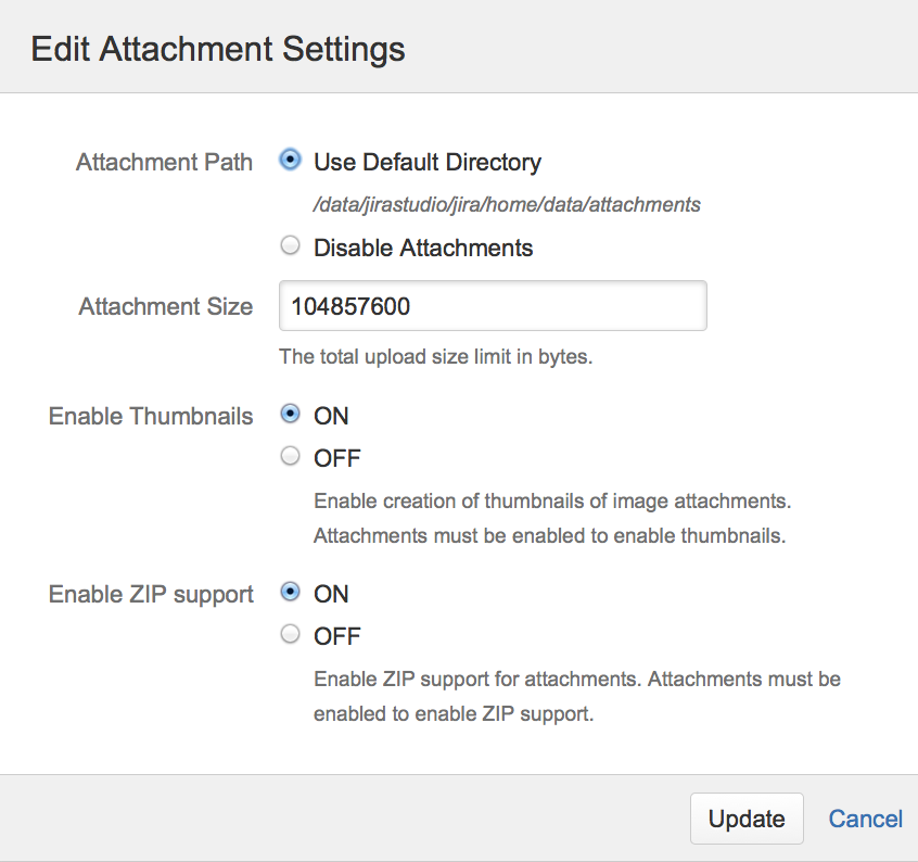 Edit attachment settings.