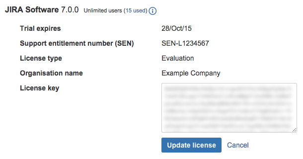 Details of a Jira Software license.