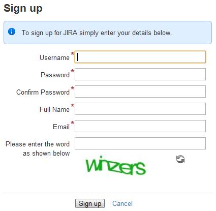 Jira のサインアップ ページ。