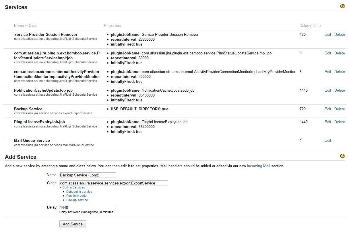 Jira で使用可能なサービスの一覧。