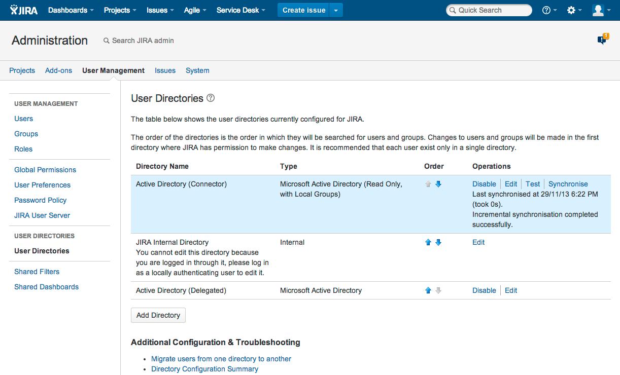 Jira 管理コンソールのユーザー ディレクトリ。