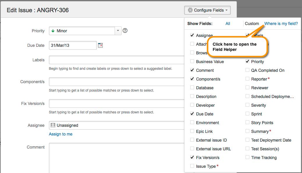 課題の編集ページ内で自分の課題フィールドにどのようにアクセスできますか。
