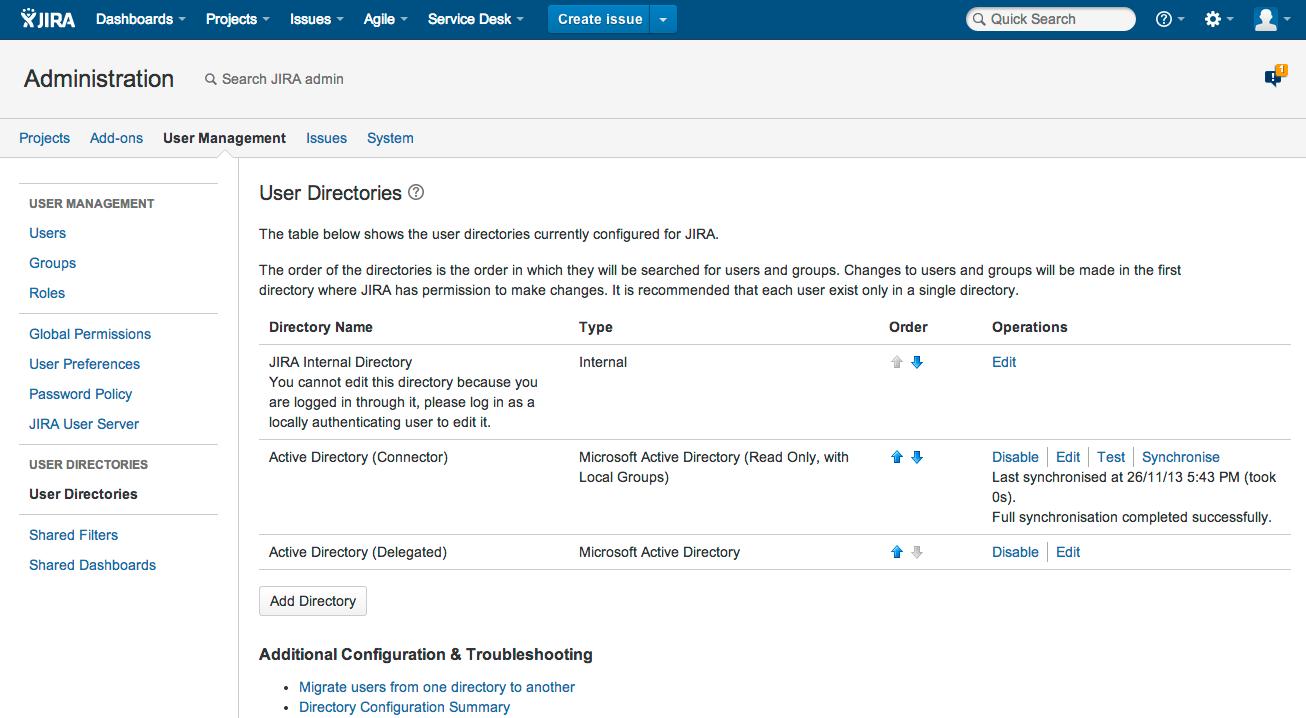 Jira 管理コンソールのユーザー ディレクトリ ページ。