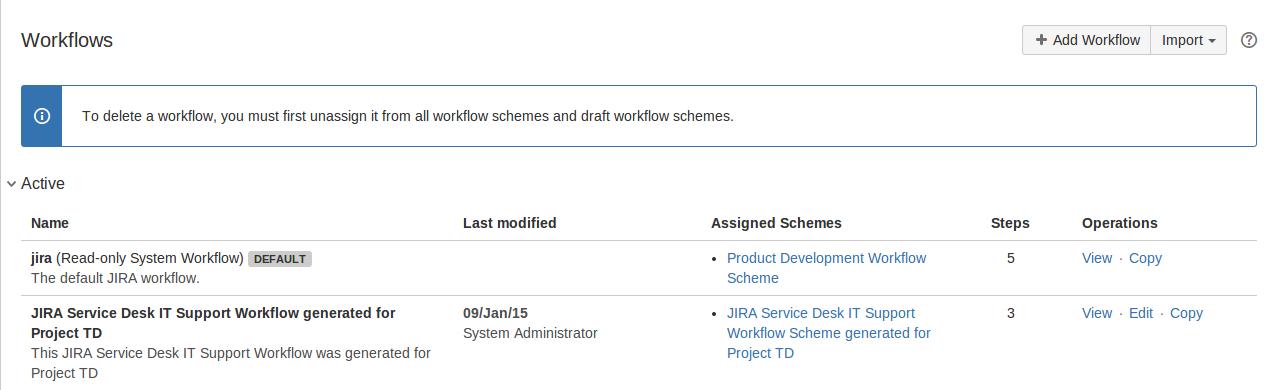 Jira 管理コンソールのワークフロー ページ。