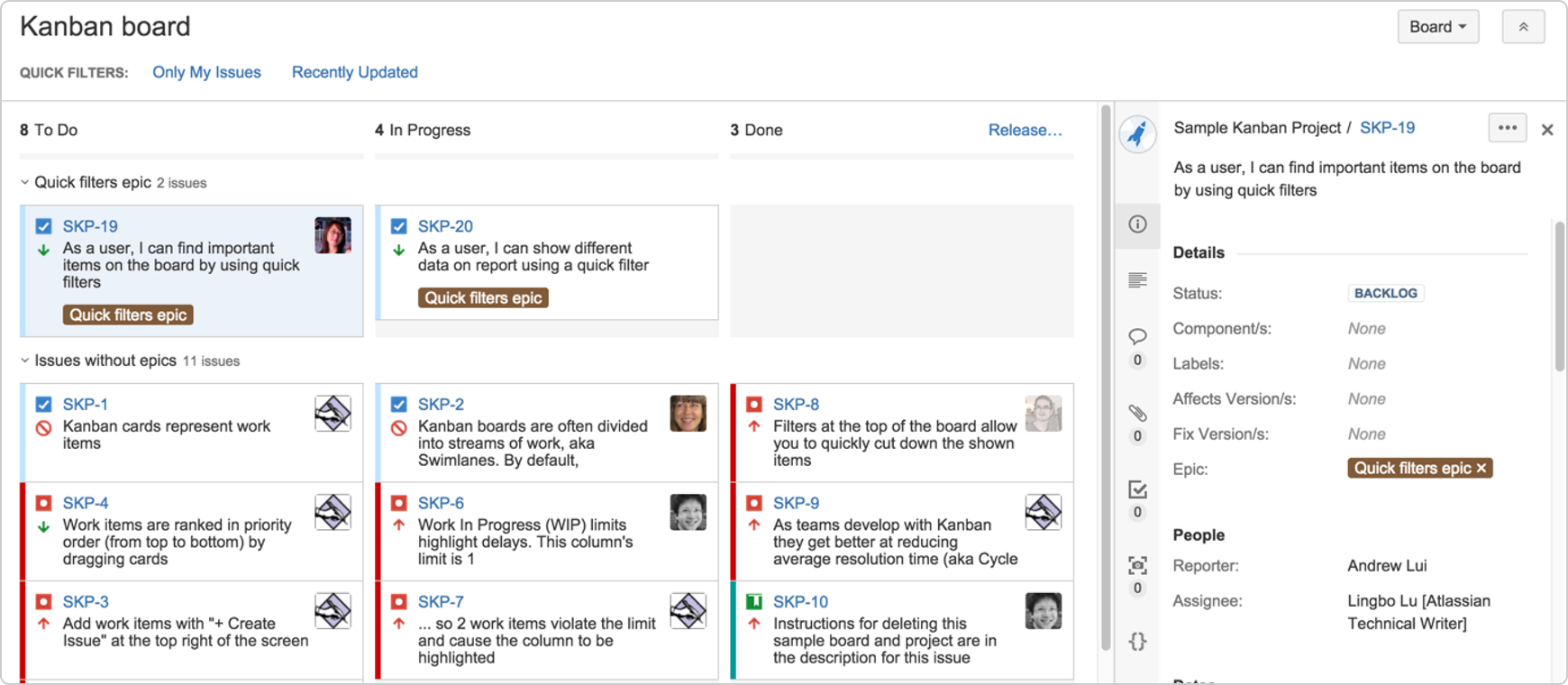 A example of a Kanban view from JIRA, the software package we use at work.