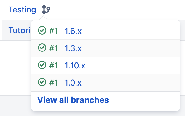 Branch view in the build dashboard