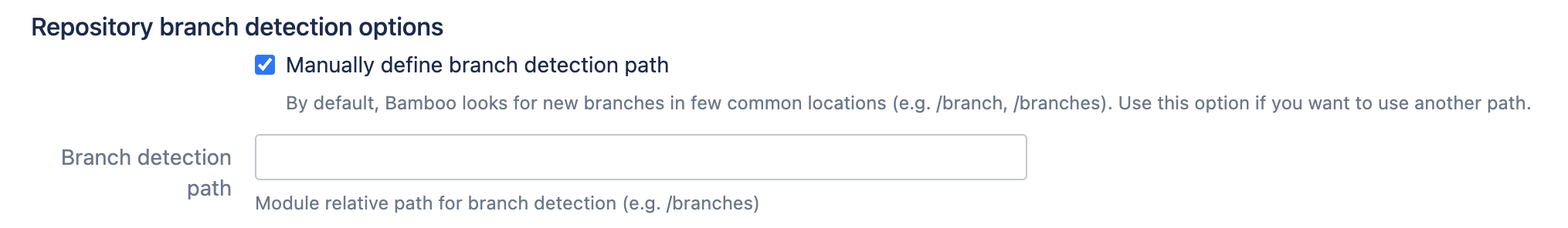 Repository branch detection options