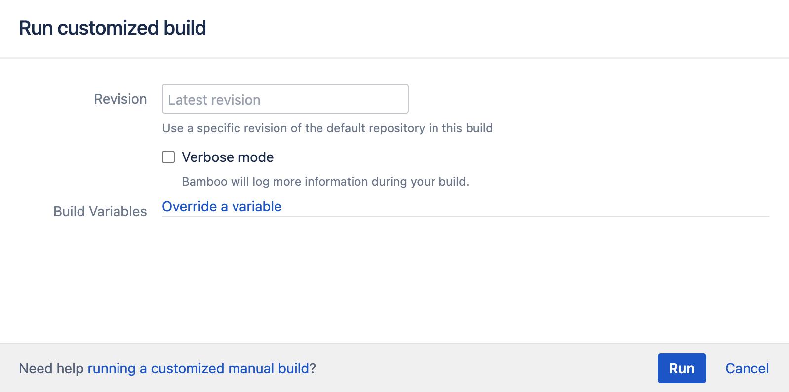 Customized build configuration screen