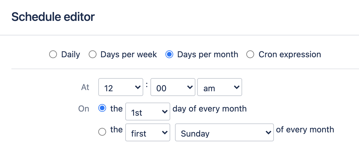 Monthly trigger configuration screen