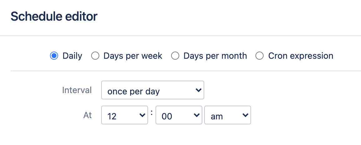 Daily schedule trigger configuration screen