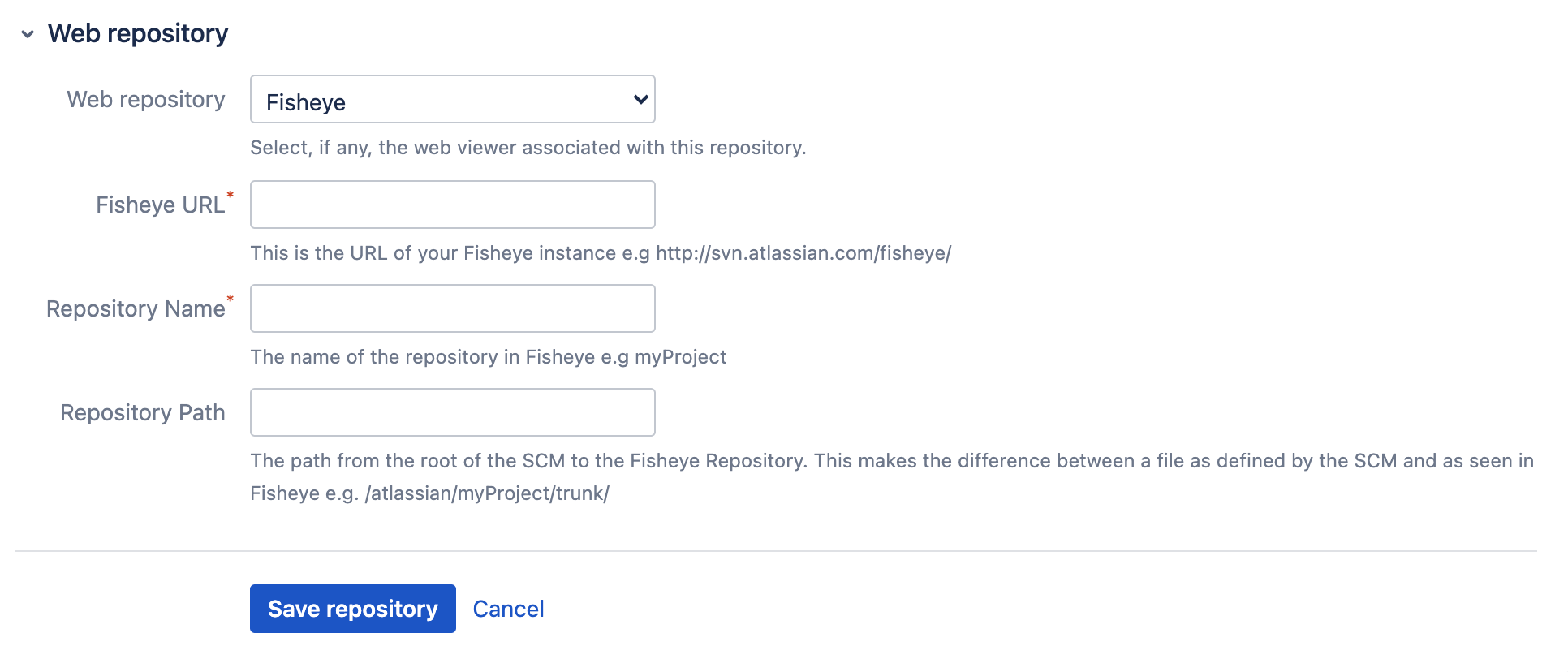 Web repository configuration page