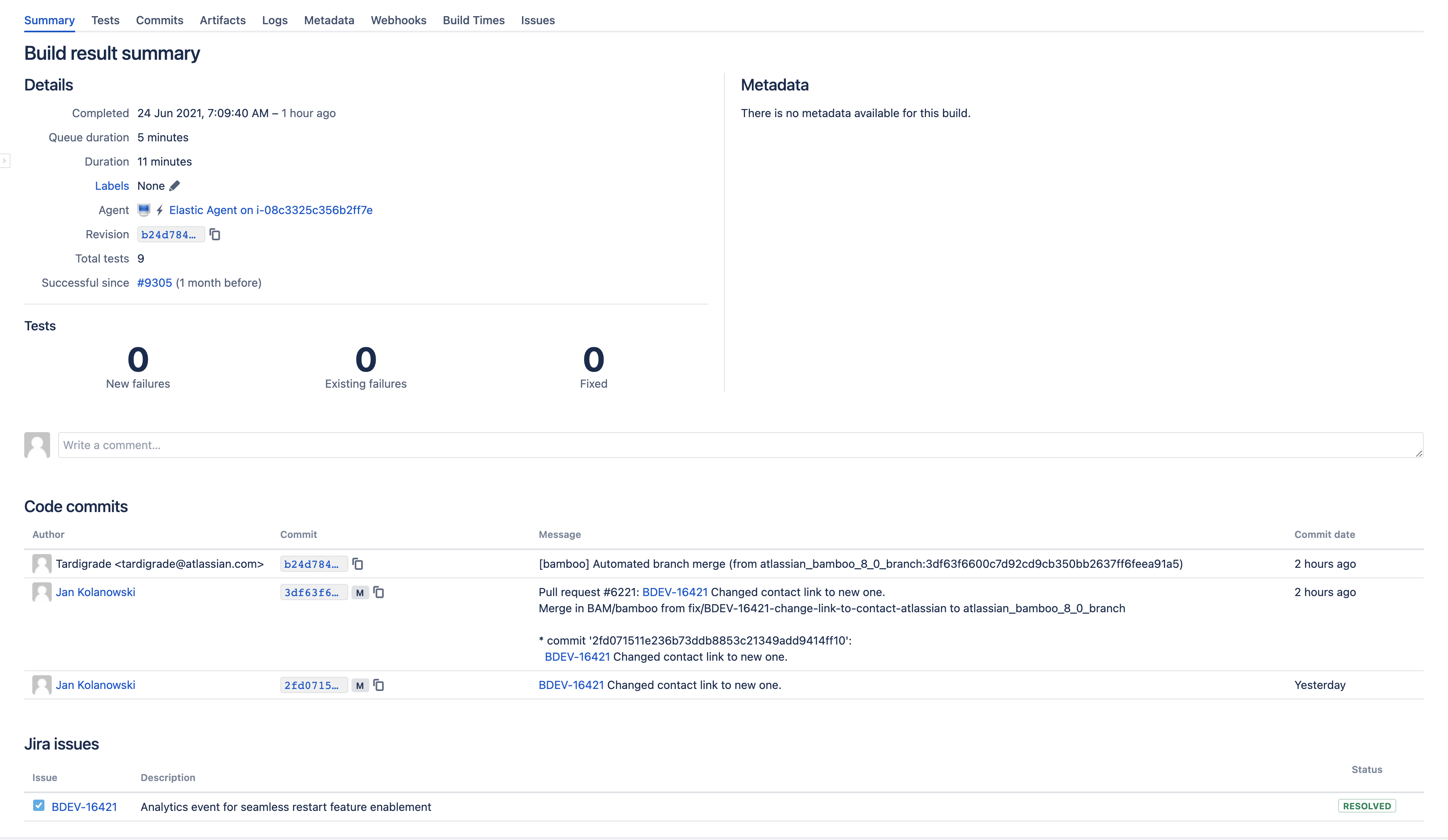 Jira issues in build summary view