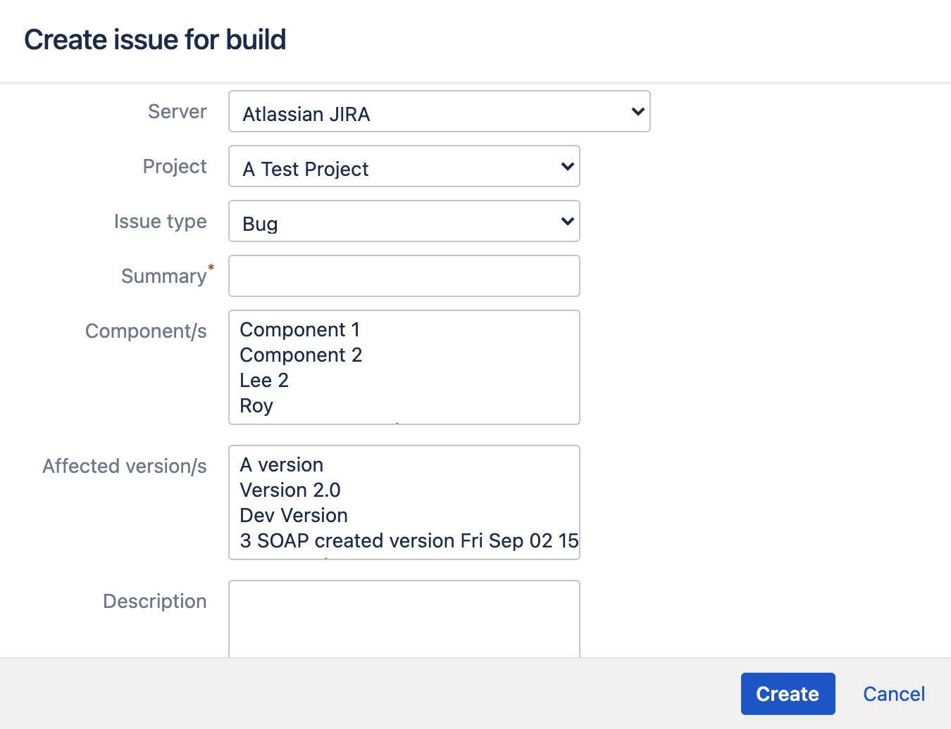 Create Jira issue for build window