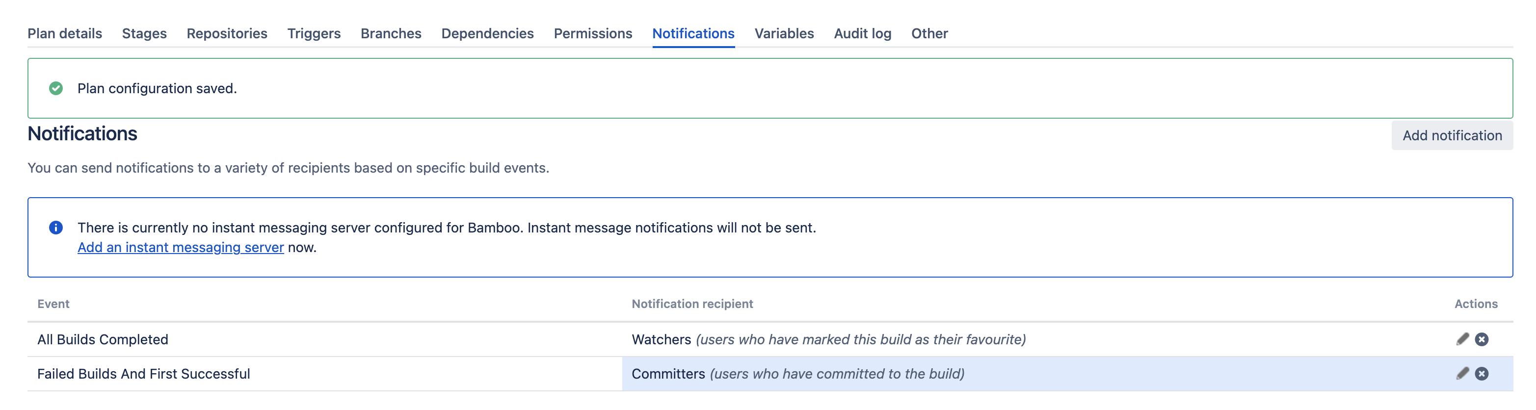 Plan notifications screen