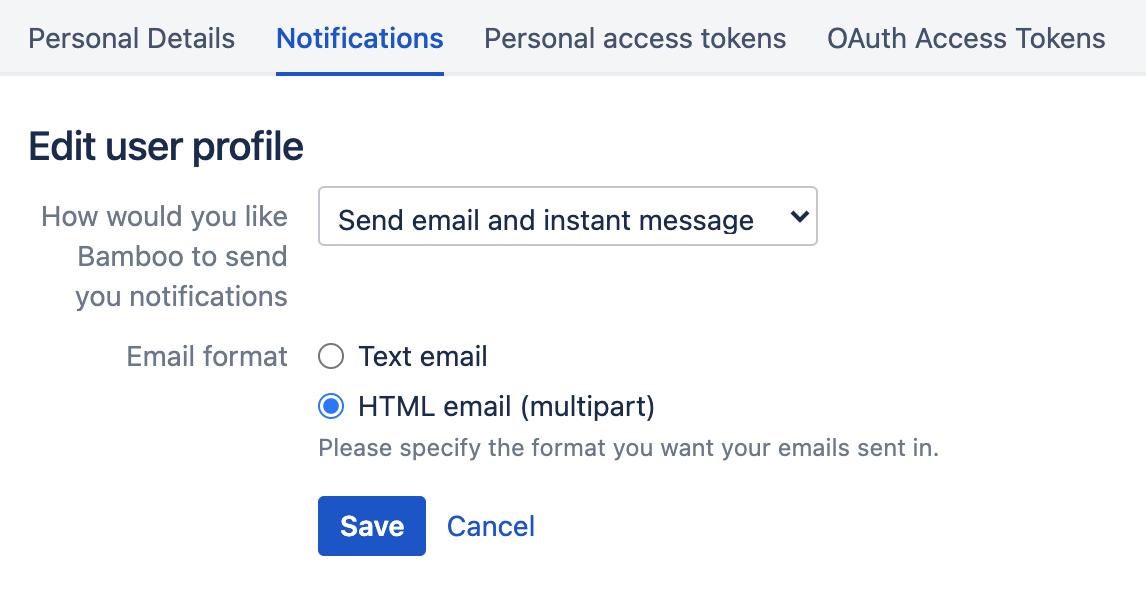 Notifications tab in Profile settings