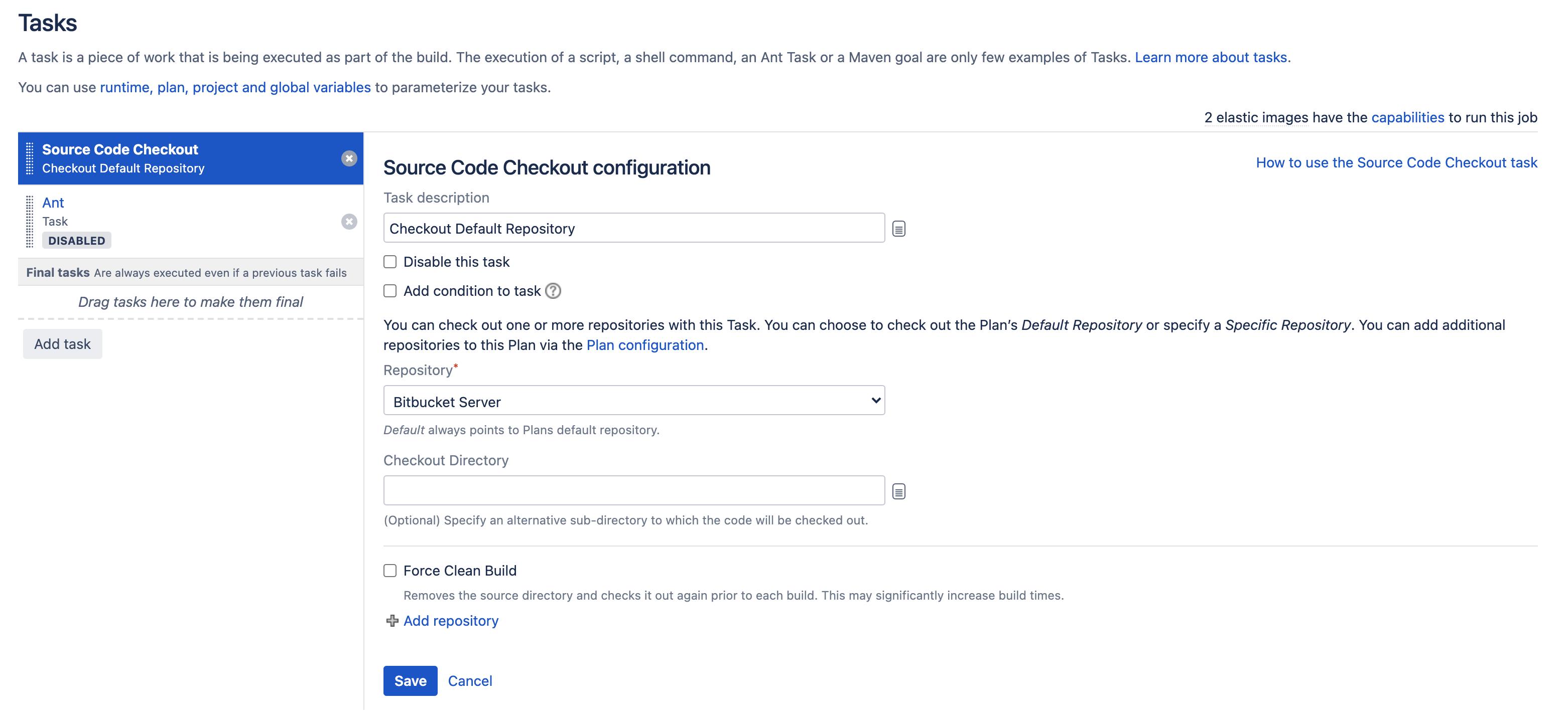 Tasks order in task configuration screen