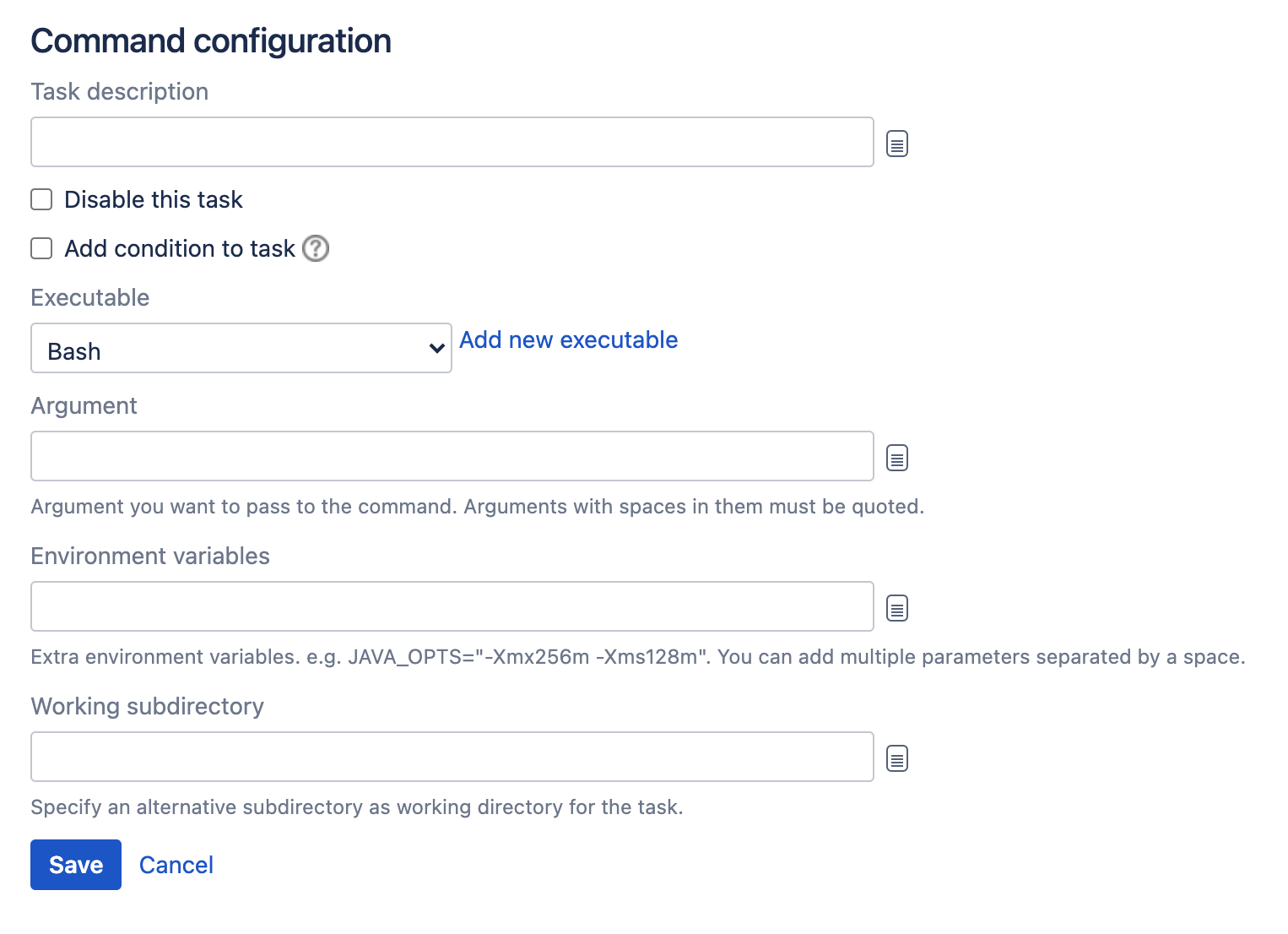 Command task type configuration