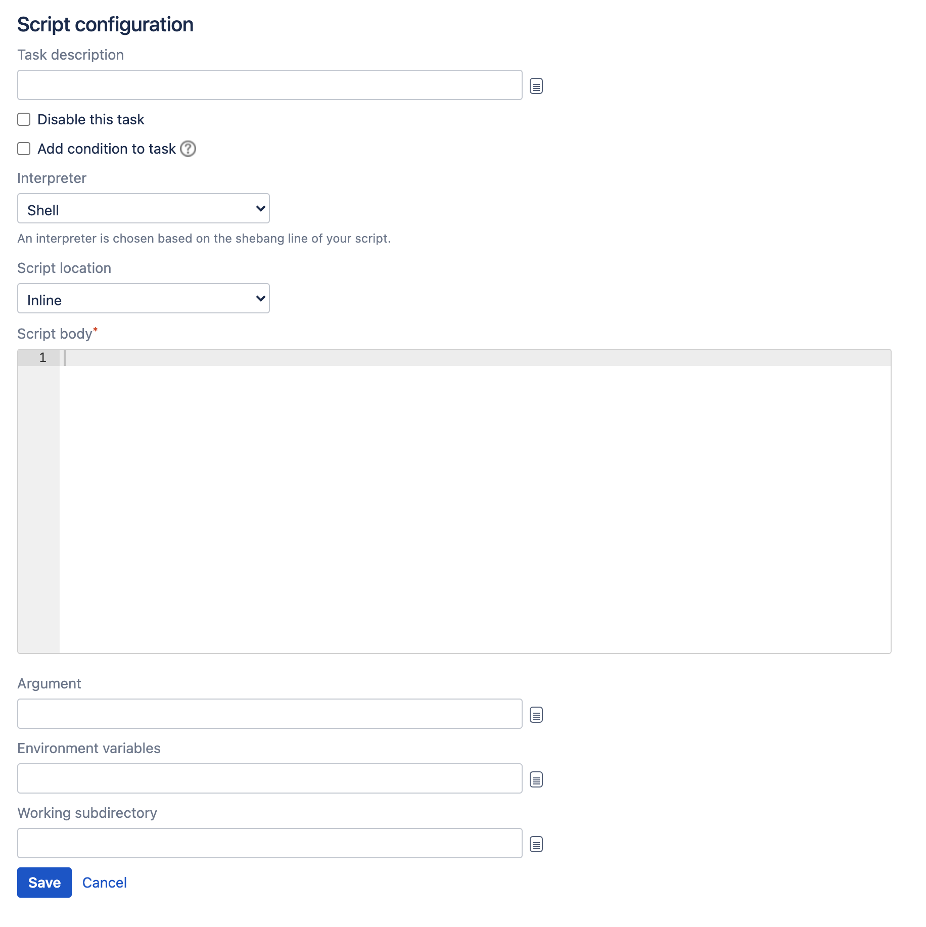 Script task type configuration screen