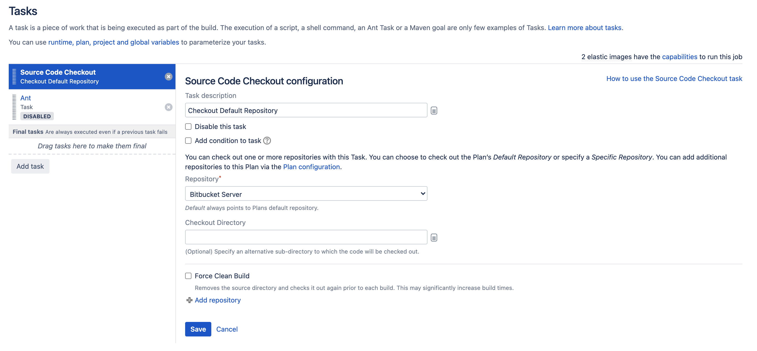 Source Code Checkout task configuration