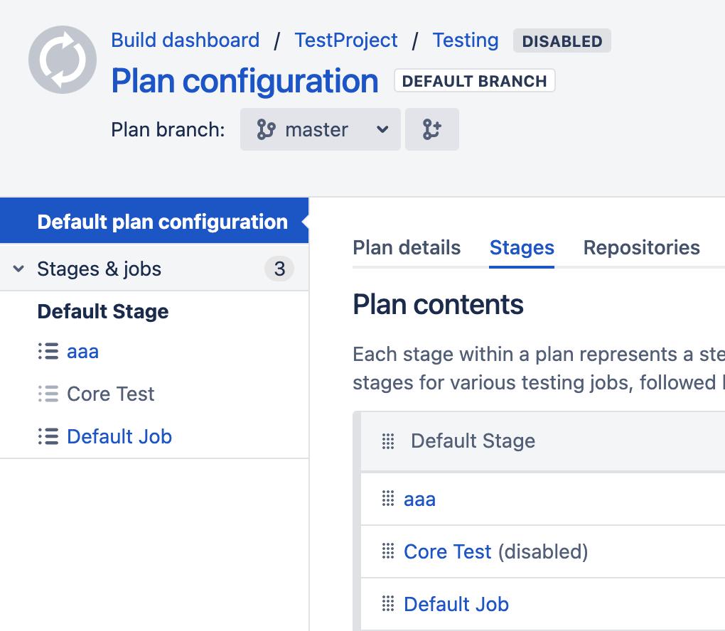 Job list in plan configuration screen