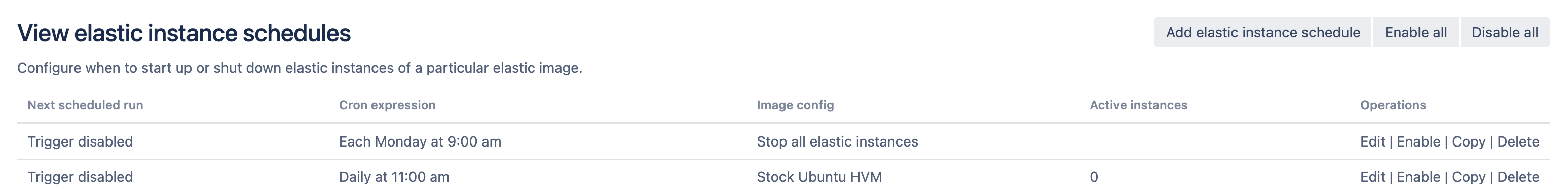 View elastic instance schedules page
