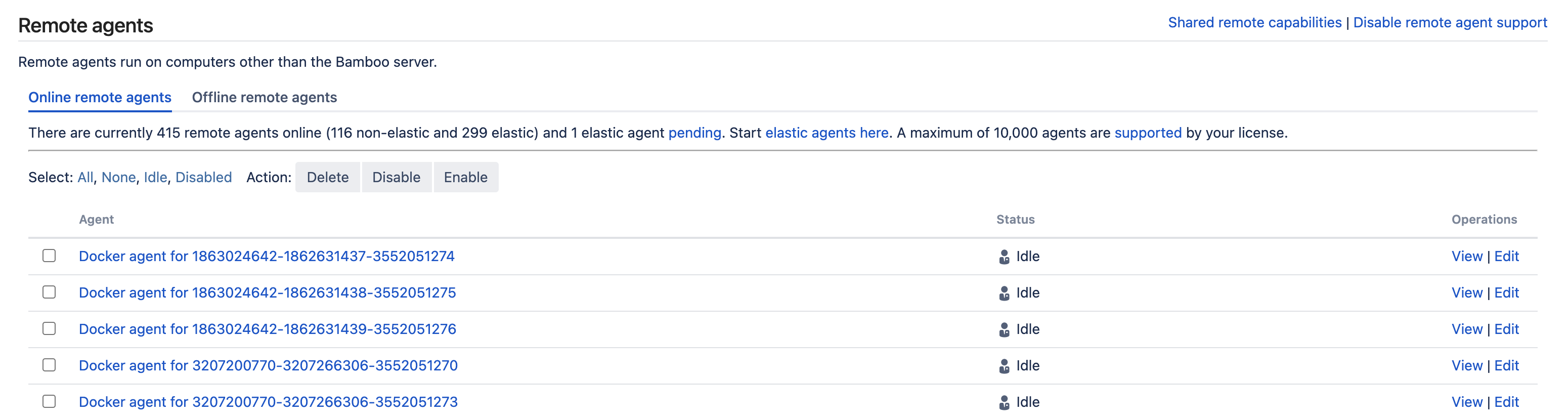 Remote agents list and configuration