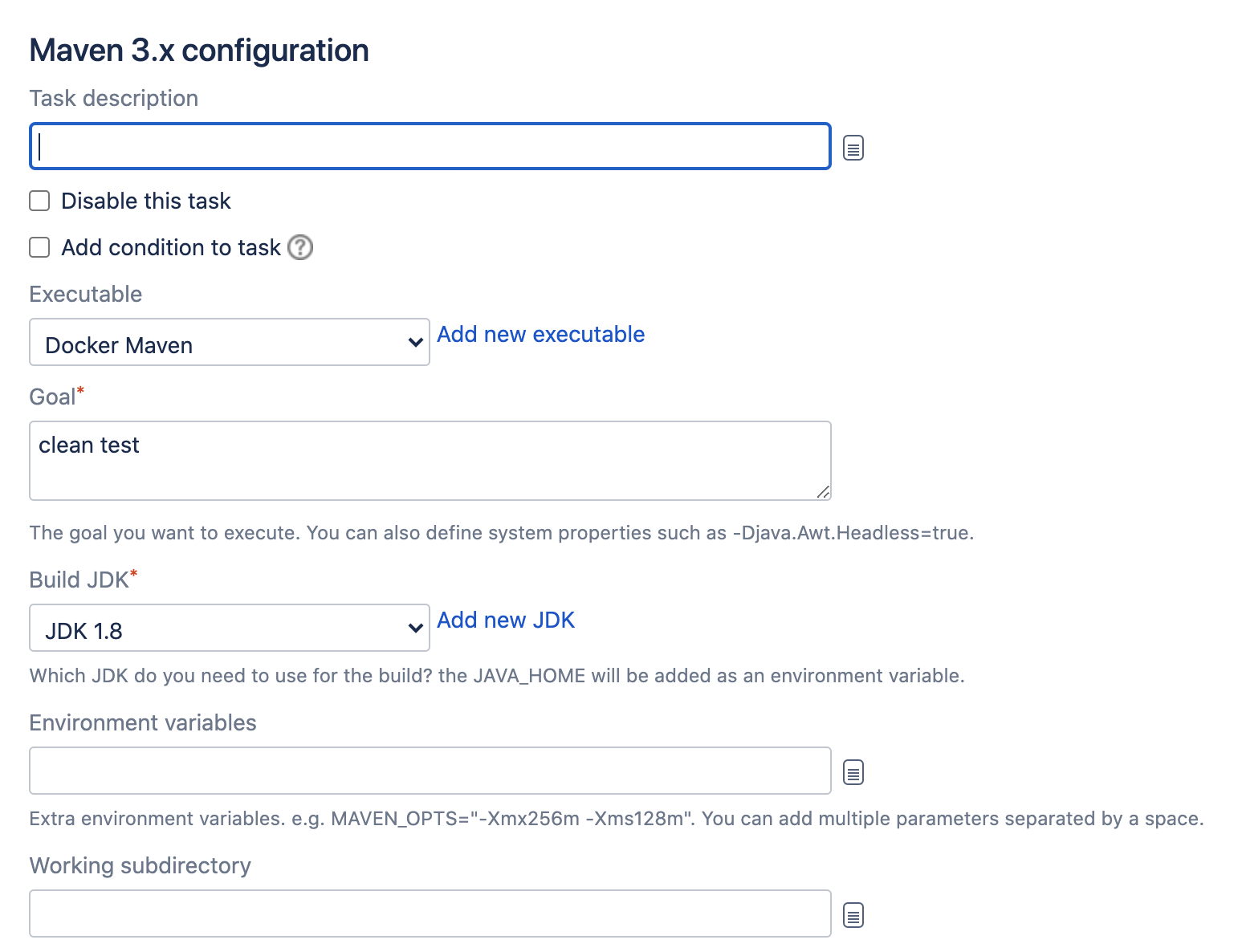 Maven configuration section in Bamboo