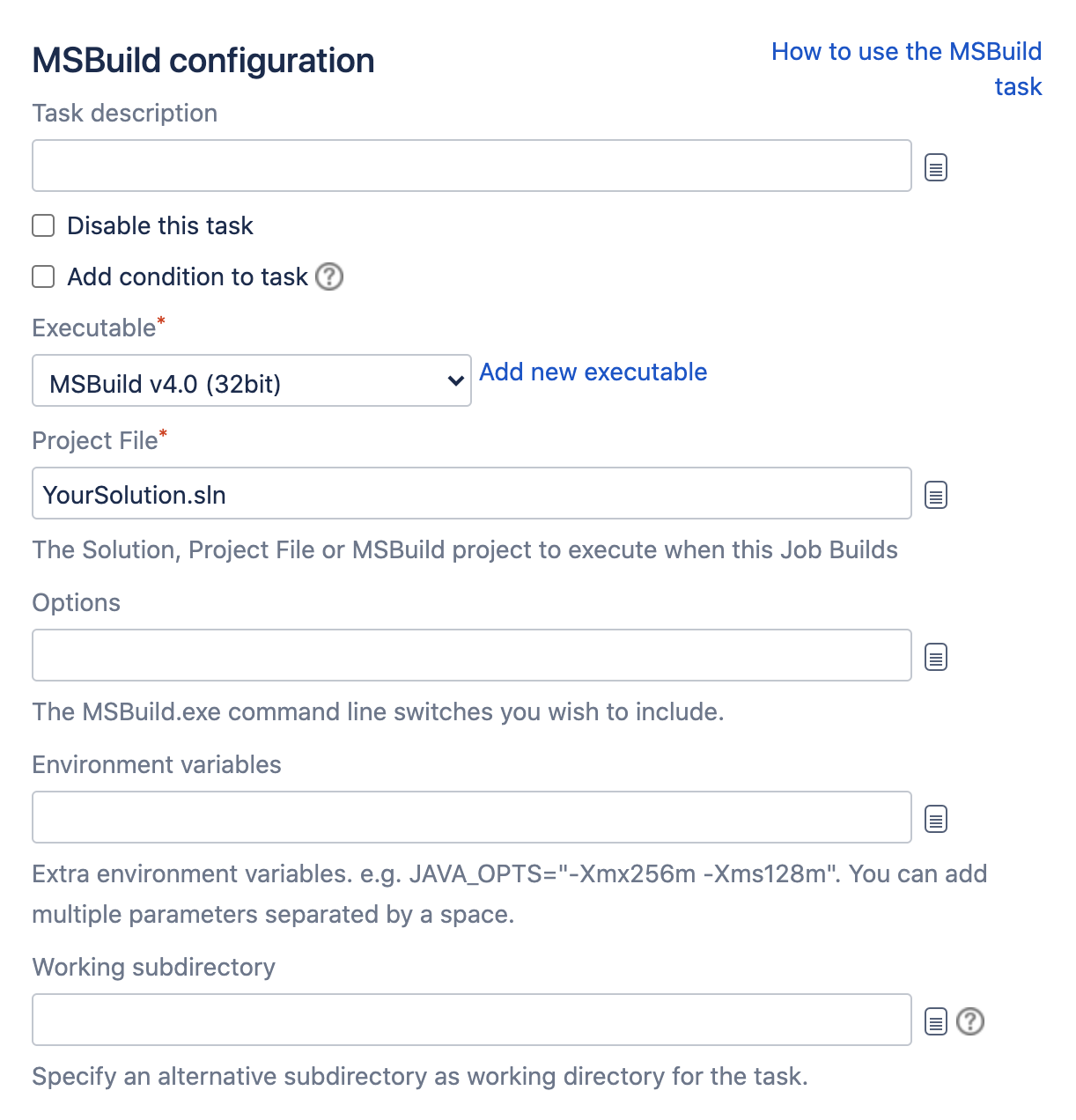 MSBuild configuration section in Bamboo