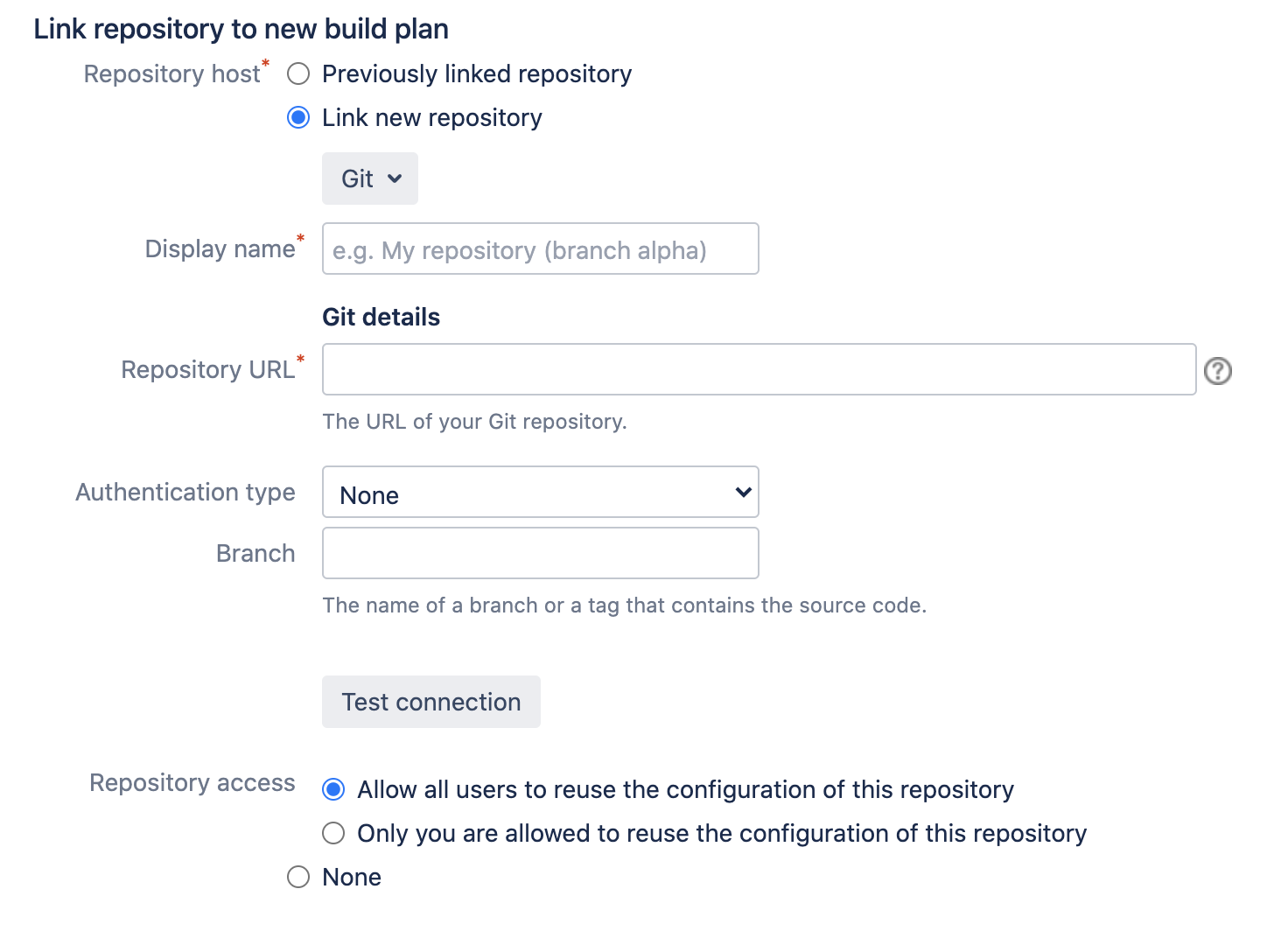 Git repository details section in Bamboo