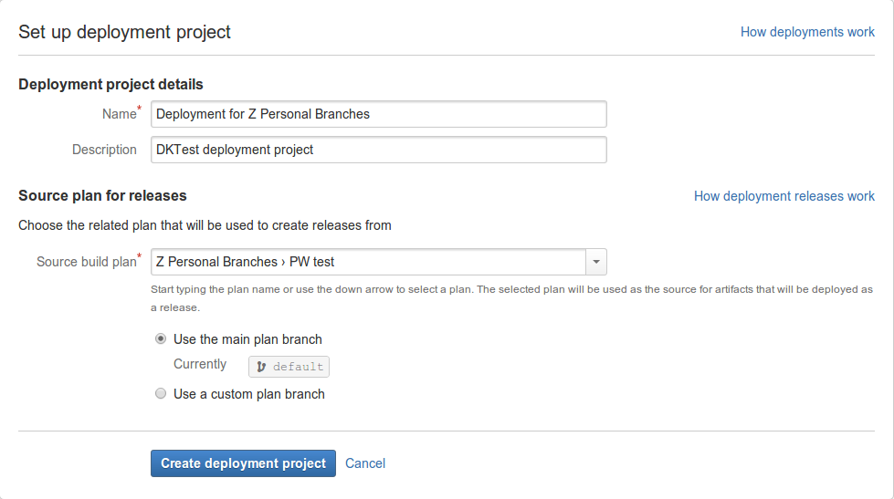 creating and configuring a deployment project atlassian documentation