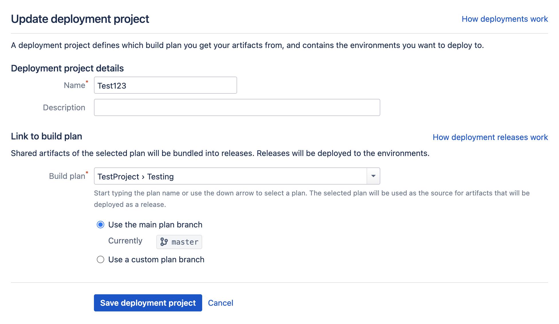 Update deployment project screen
