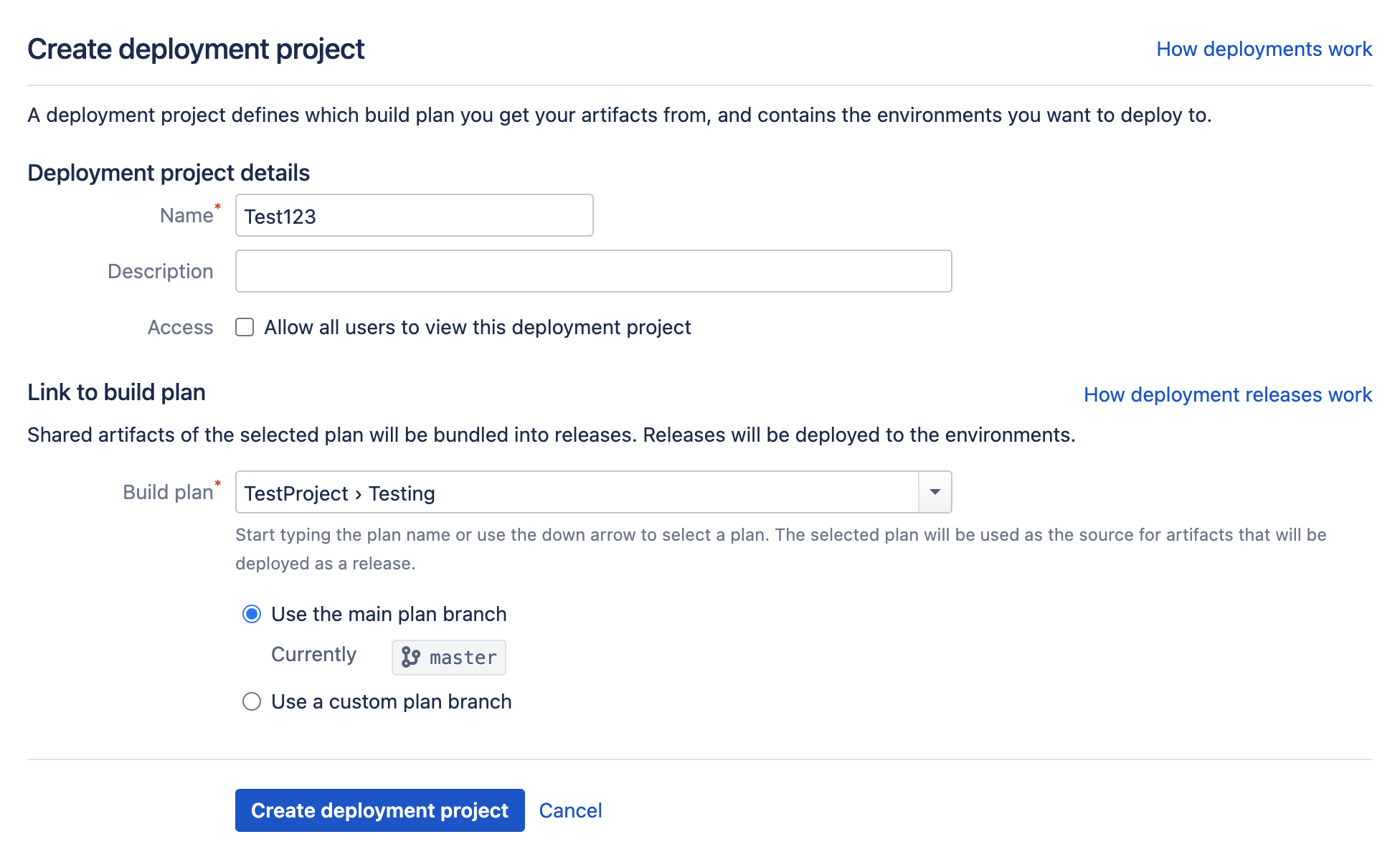 Create deployment project screen