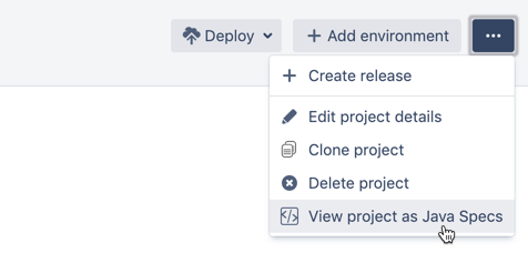 More actions menu in deployment project configuration