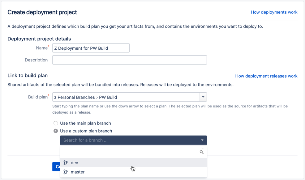 Creating and configuring a deployment project - Atlassian
